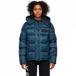 Kenzo Blue and Green Down Moire Tiger Puffer Jacket 192387F06100104GB