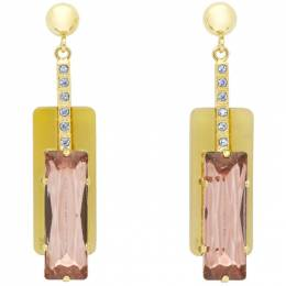 Erdem Gold and Pink Horn Drop Earrings 192641F02200101GB