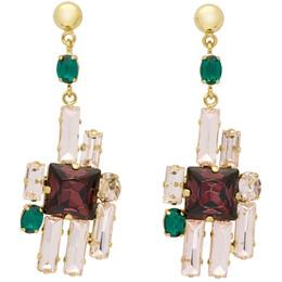 Erdem Gold Cluster Drop Earrings 192641F02200301GB