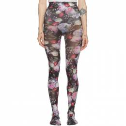 Erdem Black and Multicolor Printed Tights 192641F07600302GB