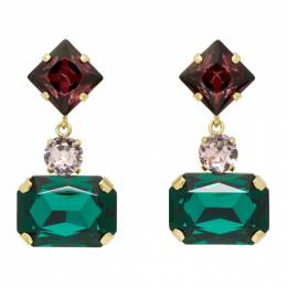 Erdem Gold Rectangular Drop Earrings 192641F02200601GB