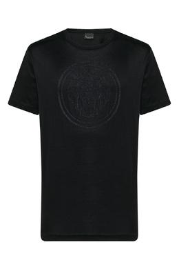 Черная футболка с пунктирной вышивкой Billionaire 1668156209