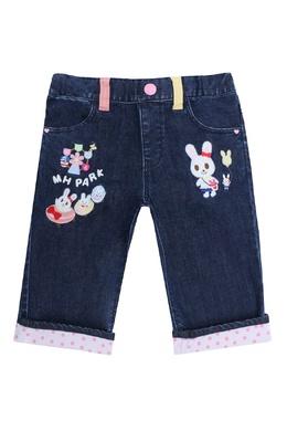 Синие джинсы с контрастной отделкой Miki House 3018159770