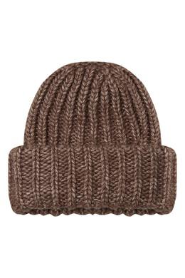 Коричневая шапка из плотной пряжи Alena Akhmadullina 73159936
