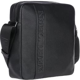 Emporio Armani Black Faux Leather Messenger Bag