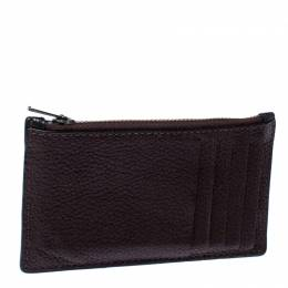 Coach Black/Maroon Leather Credit Card Holder 236221