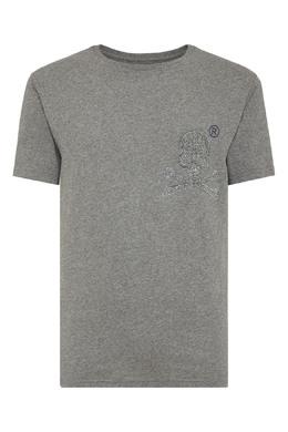 Прямая серая футболка с черепом из стразов Philipp Plein 1795159846