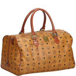 MCM Brown Visetos Leather Duffle Bag 224477