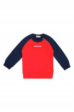Красный свитшот с синими рукавами Miki House 3018160172