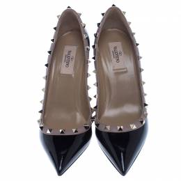 Valentino Black Patent Leather Rockstud Pointed Toe Pumps Size 38 238097