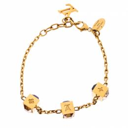 Louis Vuitton Crystal Gold Tone Gamble Bracelet 236151