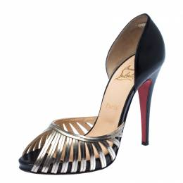 Christian Louboutin Black/Gold Cage Metal And Leather D'Orsay Open Toe Pumps Size 40 236159