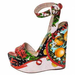 Dolce&Gabbana Multicolor Floral Printed Fabric Foulard Platform Wedge Sandals Size 38 237511