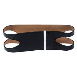 Alexander McQueen Black Cut Out Patent Leather Waist Belt Size 80CM 236230
