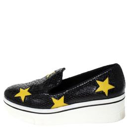 Stella McCartney Python Embossed Faux Leather Binx Star Platform Slip On Sneakers Size 39 237406