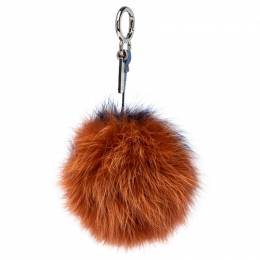 Fendi Orange/Blue Fox Fur Pom Pom Bag Charm 236213