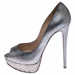 Christian Louboutin Metallic Gold Python Lady Peep Toe Platform Pumps Size 39 238059