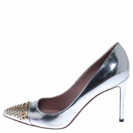 Gucci Metallic Silver Leather Studded Pointed Toe Pumps Size 39 238053