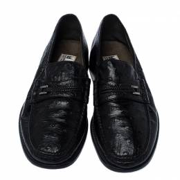 Moreschi Black Ostrich and Leather Loafers Size 41 237240