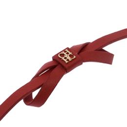 Ch Carolina Herrera Red Leather Ribbon Bracelet 236203