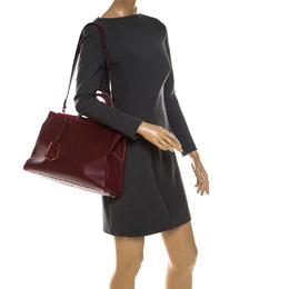 Fendi Burgundy Saffiano Leather Medium Sac 2jours Elite Tote 234846