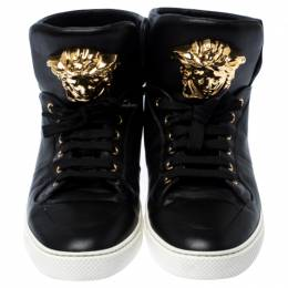 Versace Black Leather Medusa Lace High Top Sneakers Size 44 237386