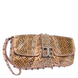 Dolce&Gabbana Peach Python Logo Embellished Wristlet Clutch 235271