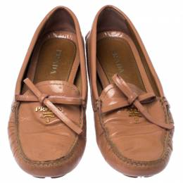 Prada Nude Beige Patent Leather Bow Loafers Size 37 237430