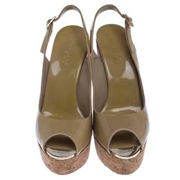 Jimmy Choo Beige Patent Leather Prova 120 Wedge Sandals Size 38.5 238045