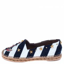 Dolce&Gabbana Blue/White Fabric Espadrille Loafers Size 38 238039