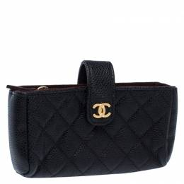 Chanel Black Quilted Leather iPhone Pouch 235244