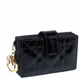 Dior Black Patent Cannage Leather Gusset Card Holder 236258