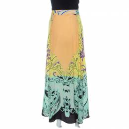Etro Multicolor Printed Silk Front Pleat Detail Maxi Skirt M 238014