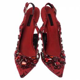 Dolce&Gabbana Red Crystal Embellished Lace Pointed Toe Slingback Sandals Size 38 237395