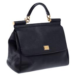 Dolce&Gabbana Black Dauphine Leather Large Miss Sicily Top Handle Bag 234921