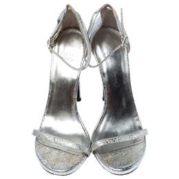 Stuart Weitzman Silver Textured Leather Nudistsong Sandals Size 37.5 236163