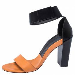 Chloe Orange/Black Leather Ankle Cuff Sandals Size 39 237490
