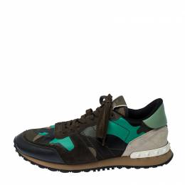 Valentino Multicolor Camouflage Printed Leather and Suede Rockrunner Sneakers Size 42 237384