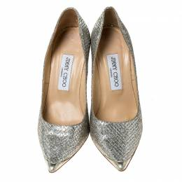 Jimmy Choo Metallic Lamè Glitter Abel Pointed Toe Pumps Size 36.5 237383