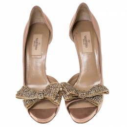 Valentino Beige Satin Crystal Embellished Bow Dorsay Peep Toe Pumps Size 38.5 237245