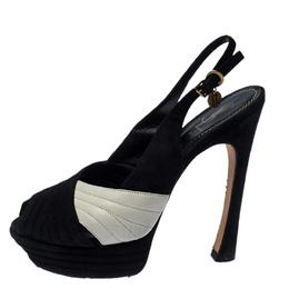 Saint Laurent Paris Black/White Suede and Leather Criss Cross Platform Slingback Sandals Size 38.5 236001