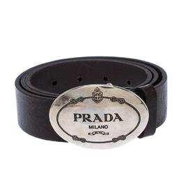 Prada Dark Brown Leather Logo Plague Belt 90CM 233874