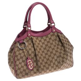Gucci Beige/Pink GG Canvas Medium Sukey Tote 234450