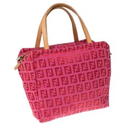 Fendi Red/Pink Zucchino Canvas Pochette 233823