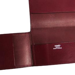 Hermes Bordeaux Trifold Leather Card Case 228718
