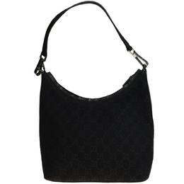 Gucci Black GG Canvas Medium Hobo Bag 218228