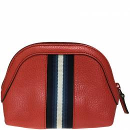 Gucci Red Leather GG Web Pouch 218178