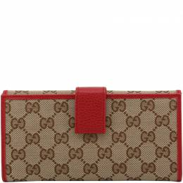 Gucci Beige/Red GG Canvas and Leather Long Wallet 208190