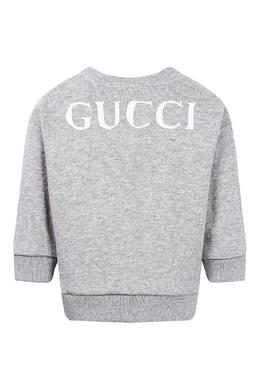 Детский джемпер из светло-серого трикотажа с принтом Gucci Kids 1256160322