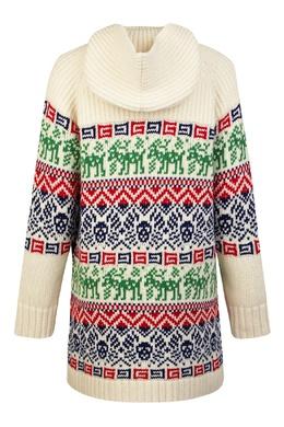 Белый шерстяной джемпер с цветным орнаментом Gucci Kids 1256160349
